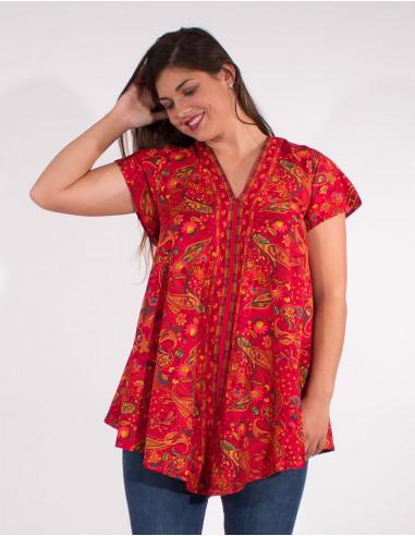 Short sleeves polyester blouse sari