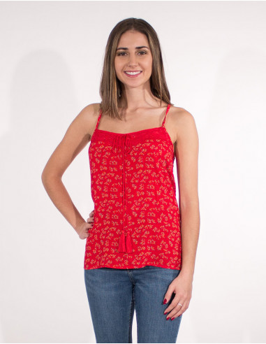 Viscose top with lace back polyester...