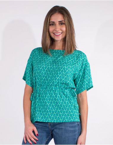 Short sleevesd viscose blouse with...