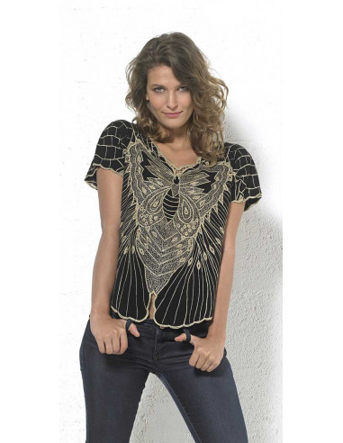 Rayon blouse with embroideries