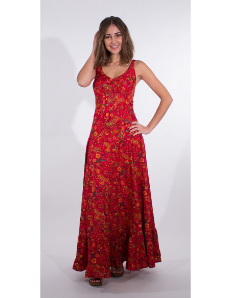 1 Robe Longue Polyester Bretelles Larges S