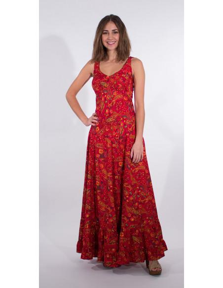 4 Robe Longue Polyester Bretelles Larges S