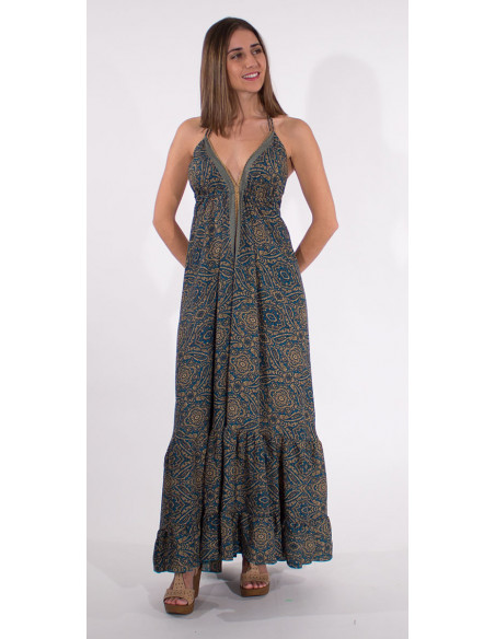 1 Robe Longue Polyester Bretelles Sari