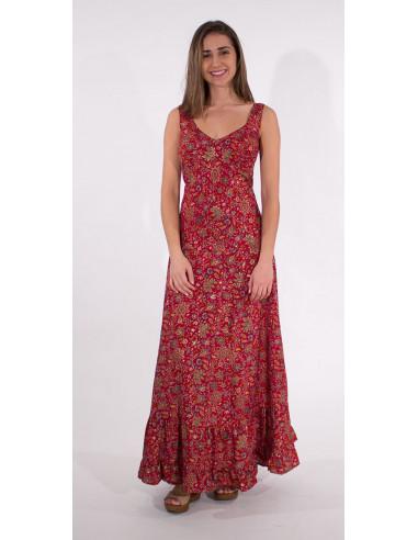 1 Robe Longue Polyester Bretelles India Do
